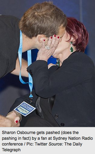 Number 34- Celebrity Kiss- TICK! (this is the pic that featured in the Daily Telegraph newspaper the next day!)